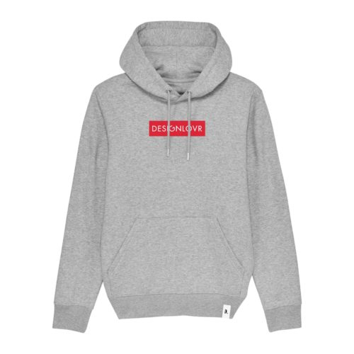 DESIGNLOVR Hoodie in Grey - Logo Print in Red - Front
