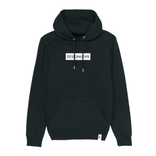 DESIGNLOVR Hoodie in Black - Logo Print in White - Front