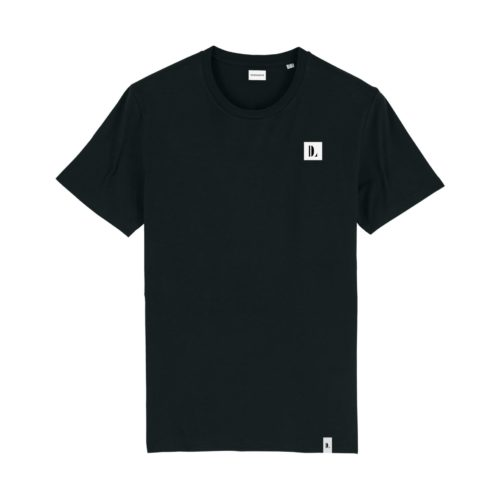 DESIGNLOVR T-Shirt in Black - Monogramm Print in White - Front